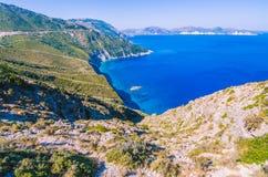Kefalonia海岛惊人的costline  其中一个最佳的地方在参观的世界上 最佳的海滩希腊和 图库摄影