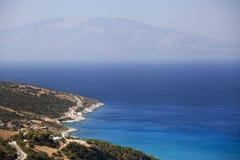 Kefalonia海岛,从Zakynthos海岛的视图 图库摄影