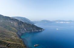 Kefalonia,希腊海岸线风景 免版税库存图片