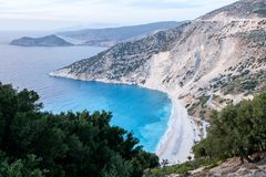 Kefalonia, Greece coastline landscape. With Myrtos beach, one of the best beaches on the island Royalty Free Stock Photos