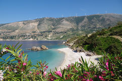 Kefalonia idílico de la playa de Vouti, Grecia Foto de archivo libre de regalías