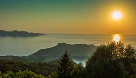 Kefalonia zmierzchu Ionian wyspy Grecja Fotografia Royalty Free