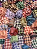 Keffiyehs, w kratkę bawełniani scarves Obrazy Stock
