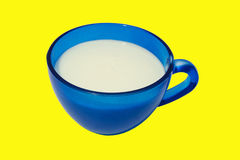 Kefir in a blue cup. Royalty Free Stock Photos