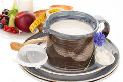 Kefir in jug Royalty Free Stock Photography