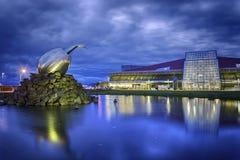 Keflavik机场冰岛夜间 免版税库存照片