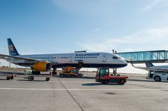 Icelandair Boeing 757 airplane at Keflavik Airport in Iceland Royalty Free Stock Images
