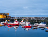 Keflavik fartyg längs pir Fotografering för Bildbyråer