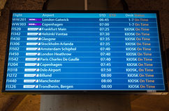 KEFLAVIK, ICELAND - March 15, 2015: Airport departure board screen at Keflavik International Airport Royalty Free Stock Photos