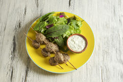 Keftedes, greek veal meatballs served with tzatziki sauce. Food & Dishes for Restaurants, Cuisine of the peoples of the world, Healthy Recipes Royalty Free Stock Photos