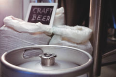 Keg with barley sack at brewery Stock Images