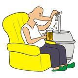 Keg of beer. Man sitting in a chair and serving beer. Amusing image Royalty Free Stock Image