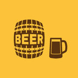 Keg and glass of beer icon. Cask and barrel, alcohol, beer symbol. UI. Web. Logo. Sign. Flat design. App. Stock. Keg and glass of beer icon. Cask and barrel stock illustration