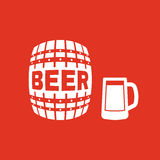 Keg and glass of beer icon. Cask and barrel, alcohol, beer symbol. UI. Web. Logo. Sign. Flat design. App. Stock Royalty Free Stock Photos