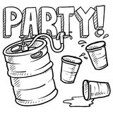 Keg party sketch. Doodle style beer keg, frat party, or kegger illustration in vector format Royalty Free Stock Photography