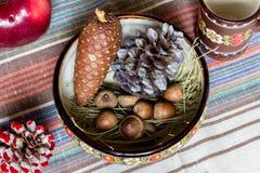 Kegel, Eicheln, ukrainische Artlehmteller auf Tischdecke, eco Küche Lizenzfreies Stockfoto