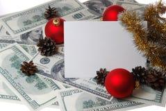 Kegel und Bälle auf dem Dollarhintergrund Stockbild