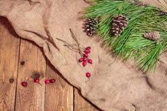Kegel und Fichtenzweig auf altem Stoff mit roten berrys Lizenzfreie Stockfotografie