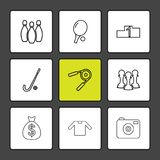 kegelen, pingpong, camera, dollar, sporten, spelen, fitne royalty-vrije illustratie