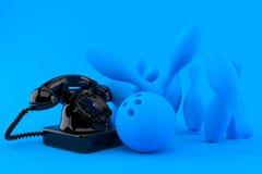 Kegelenachtergrond met telefoon stock illustratie