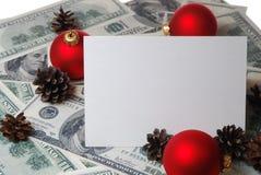 Kegels en ballen op de dollarsachtergrond Royalty-vrije Stock Afbeeldingen