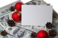 Kegels en ballen op de dollarsachtergrond Stock Afbeelding