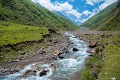 Kegety river in mountains of Tien Shan Royalty Free Stock Images