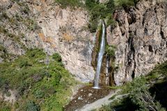Kegety waterfall near Bishkek, Kyrgyzstan Royalty Free Stock Images