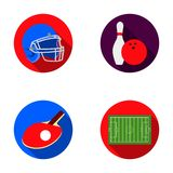 Keglie and bowling ball, protective helmet for rugby, racket and ball for playing ping-pong, field, stadium for football Royalty Free Stock Images
