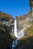 Kegon Waterfall in autumn with rainbow. One of the top 3 waterfalls in Japan.  Kegon Falls at Nikko Royalty Free Stock Image