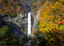 Kegon Waterfall in autumn with rainbow. One of the top 3 waterfalls in Japan.  Kegon Falls at Nikko Royalty Free Stock Photo
