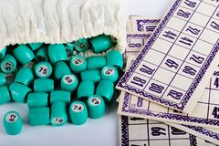 Kegs in the bag for Russian lotto bingo game on a light backgr. Ound royalty free stock photography