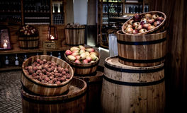 Kegs with fruits Stock Image