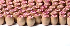 Kegs of lotto. Wooden many macro photo Royalty Free Stock Photography