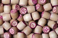 Kegs of lotto. Wooden many macro photo Stock Image