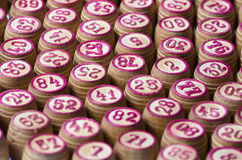 Kegs of lotto. Wooden many macro photo Stock Images