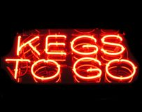 Kegs To Go. Neon Sign Royalty Free Stock Photography
