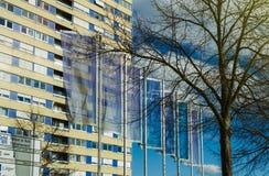 Kehl city welcom flags agains blue sky Stock Image