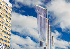 Kehl city welcom flags agains blue sky Stock Images