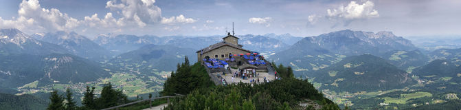 Kehlsteinhaus aka Eagle`s Nest Panorama, Germany stock images