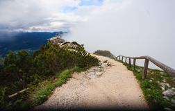 Kehlsteinhaus, the Eagle Nest, atop the summit of the Kehlstein, a rocky outcrop that rises above the Obersalzberg near the town Stock Photos