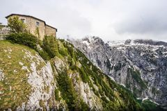 Kehlsteinhaus, the Eagle Nest, atop the summit of the Kehlstein, a rocky outcrop that rises above the Obersalzberg near the town Royalty Free Stock Photo
