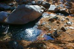 Kei - de Grote rotsen worden geveegd onderaan de bergen door seizoengebonden stromen amid lange ponderosapijnbomen royalty-vrije stock foto