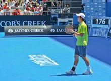 Kei Nishikori играя в открытом чемпионате Австралии по теннису стоковая фотография