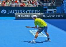 Kei Nishikori bawić się w australianie open Fotografia Royalty Free