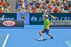 Kei Nishikori bawić się w australianie open Obrazy Stock