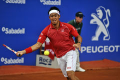Kei Nishikori japonês em Barcelona à edição 62 do competiam de tênis de Conde de Godo Troféu Foto de Stock Royalty Free