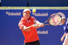 Kei Nishikori (jugador de tenis japonés) juega en el ATP Barcelona imagen de archivo libre de regalías