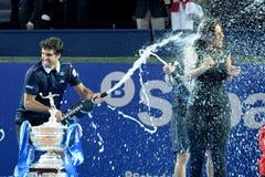 Kei Nishikori (tennisspeler van Japan) viert de overwinning bij ATP Barcelona Royalty-vrije Stock Fotografie