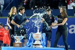 Kei Nishokori (tennisspeler van Japan) viert de overwinning bij ATP Barcelona Stock Foto's
